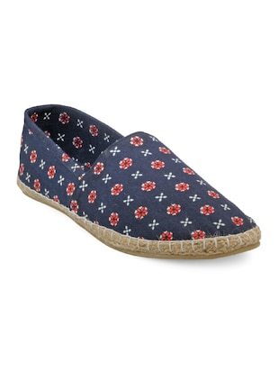 navy blue fabric printed espadrilles - online shopping for Espadrilles