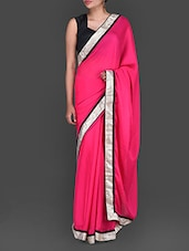 Pink Chiffon Saree With Embroidered Blouse Piece - By