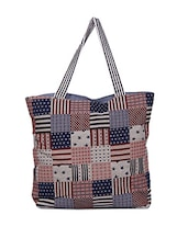Printed Blocks Pattern Canvas Tote Bag - A-maze