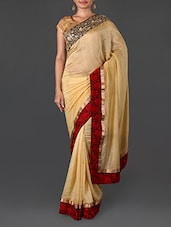 Beige Cotton Saree With Floral Border - By