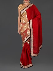 Red Brasso Embroidered Poly Satin Chiffon Saree - Four Seasons