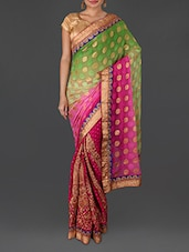 Pink Jacquard Embroidered Poly Georgette Saree - By - 1156664