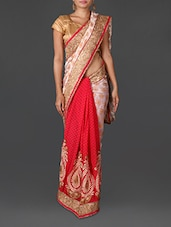 White And Pink Jacquard Poly Georgette Saree - By