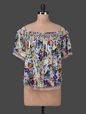 Off Shoulder Floral Print Lace Border Bohemian Top - Envy Me NY