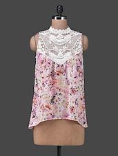 High Neck Lace Yoke Sleeveless Floral Print Top - Envy Me NY