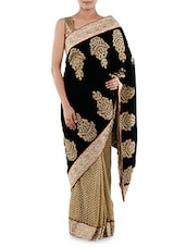 Black And Beige Embroidered Velvet Saree - Indiancultr By Kriti
