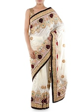 White Embroidered Zoya Silk Saree - Indiancultr By Kriti