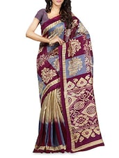Paisley Printed Pallu Ghicha Silk Saree - By