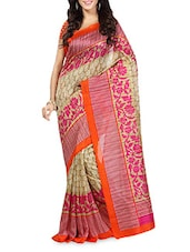Pink Floral Printed Striped Border Ghicha Silk Saree - Sareemall