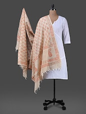 Orange Block Printed Cotton Polysilk Dupatta - Inara Robes
