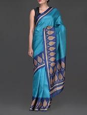 Blue Printed Cotton Poly Silk Saree - Inara Robes