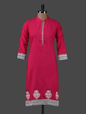 Pink Plain Embroidered Cotton Kurta - By