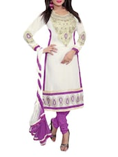 Beige Embroidered Cotton Unstitched Salwar Suit Piece - Khushali