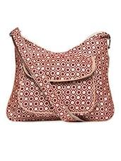 Geometric Print Velvet Sling Bag - By