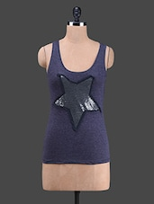 Sequined Star Cotton Tank Top - Wildrose