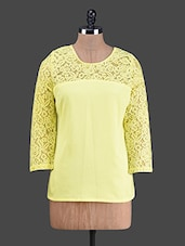 Floral Lace Round Neck Crepe Top - Wildrose