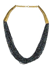 Black Beaded Metallic Necklace - THE BLING STUDIO