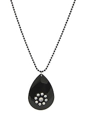 Black Beaded Metallic Necklace - By