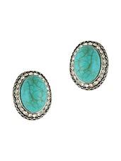 Blue Beaded Stone Shaped Earrings - THE BLING STUDIO