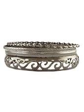 Silver Cut Hand Worked Oxidised Bracelet - THE BLING STUDIO
