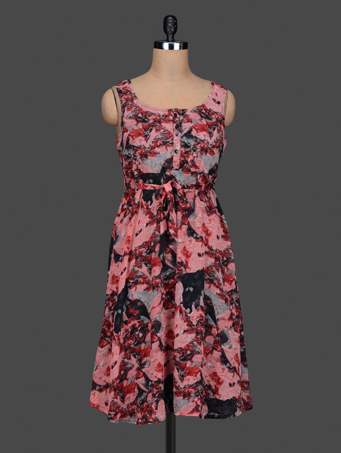 Abstract Printed Pink A-Line Midi Dress - Meira