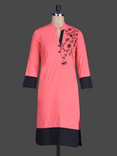 Pink Plain Cotton Full Sleeves Kurti - Meira