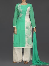 Green And White Embroidered Suit Set - SareesHut