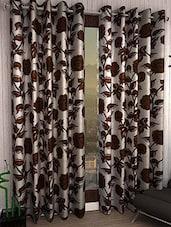 Elegance Brown Roses Print  Door Curtain Set Of 3 - By