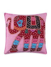 Multicolored Cotton Embroidered And Patch Worked Cushion Covers - By