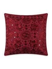 Pink Cotton Embroidered With Mirror Work Cushion Covers - By