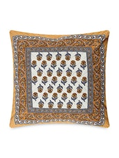 Yellow Cotton Floral Hand Block Printed Cushion Covers - By