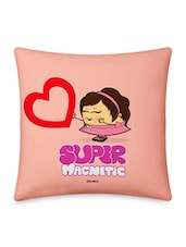 Girl Offering Red Heart Printed Pink Cushion Cover - Little India Home