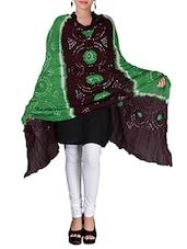 Green And Brown Bandhani Print Cotton Dupatta - By