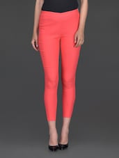 Solid Coral Ankle Length Jeggings - Bella Rosa