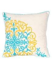 Off White Aari Worked Cotton Single Cushion Cover - By