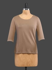 Brown Plain Beaded Cotton Top - CULT FICTION