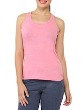 Solid Pink Cotton Tank Top - My Secret