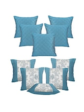 Blue Poly Silk Set Of 10 Cushion Cover - By