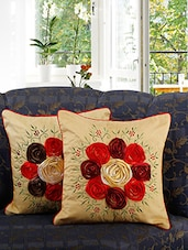 Set Of 2 Floral Lace Embroidered Cushion Cover - By