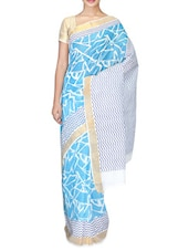 Sky Blue With White Printed Cotton Saree - By