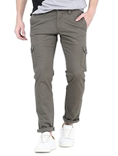 grey cotton cargos casual trousers -  online shopping for Casual Trousers