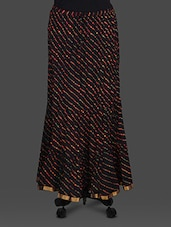 Black Leheriya Print Cotton Long Skirt - Soundarya