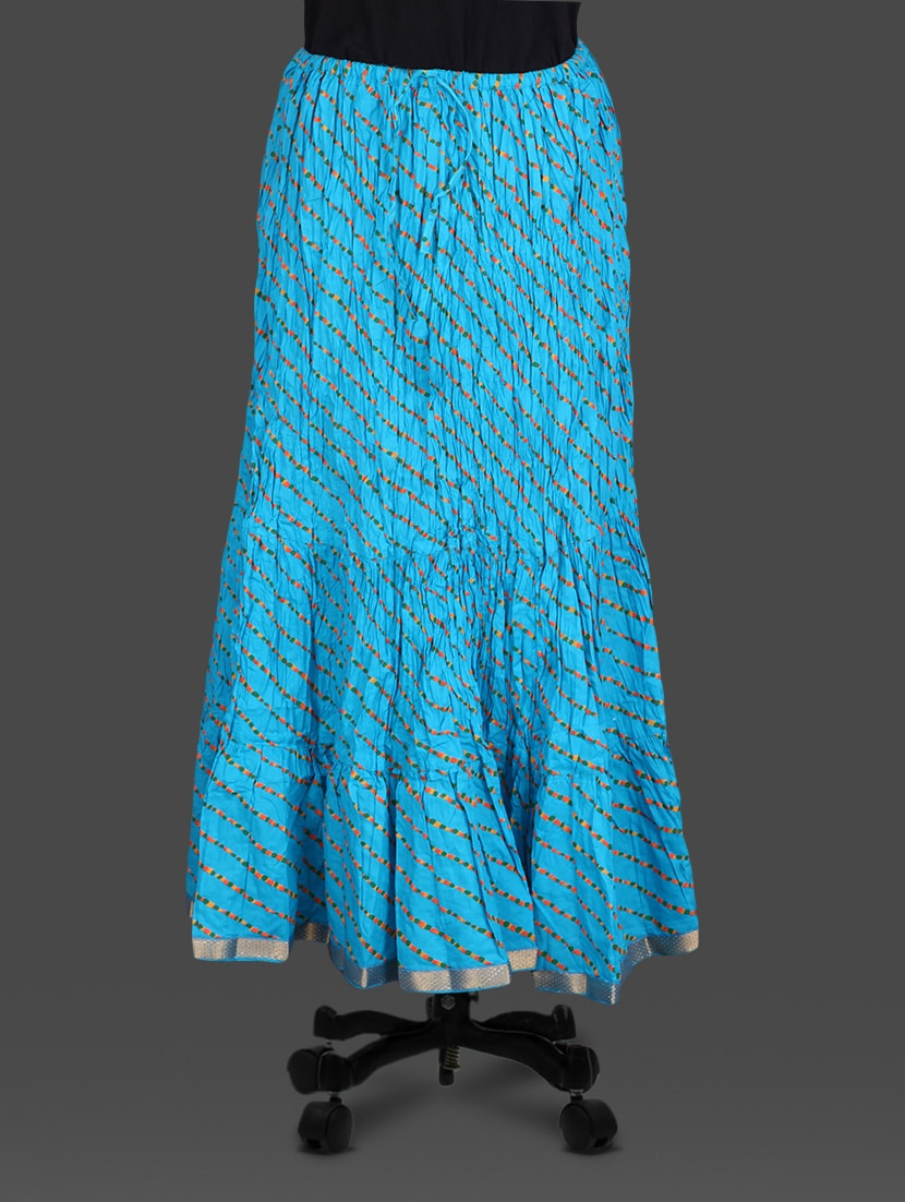 Blue Leheriya Print Cotton Long Skirt - Soundarya