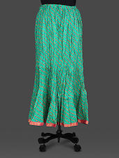 Green Leheriya Print Cotton Long Skirt - By