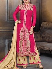 Pink Embroidered Georgette Suit Set - Ewows