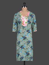 Quarter Sleeves Floral Print Cotton Kurta - Free Living