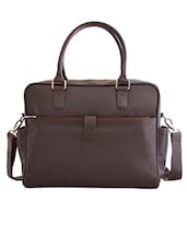 Brown Leatherette Laptop Bag - By