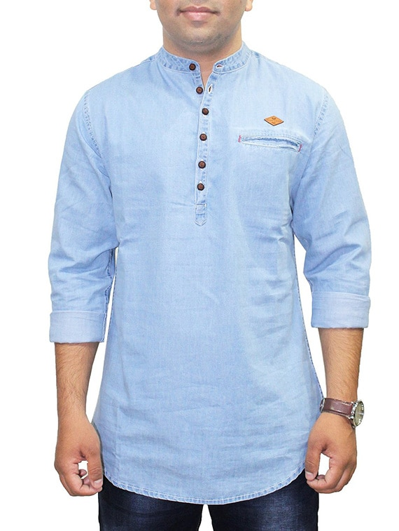 ce35b07cd8 Buy Solid Light Blue Denim Kurta for Men from Kuons Avenue for ₹1319 at 37%  off