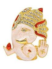Multicolour Gold Plated Brass And Copper Ladoo Ganesh Idol - Alankruthi
