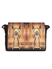 Beige Digital Printed Faux Leather Laptop Bag - Belkado Fashion